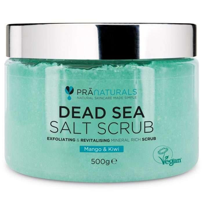 PraNaturals Exfoliante Corporal de Sal del Mar Muerto Mezclado producto envase