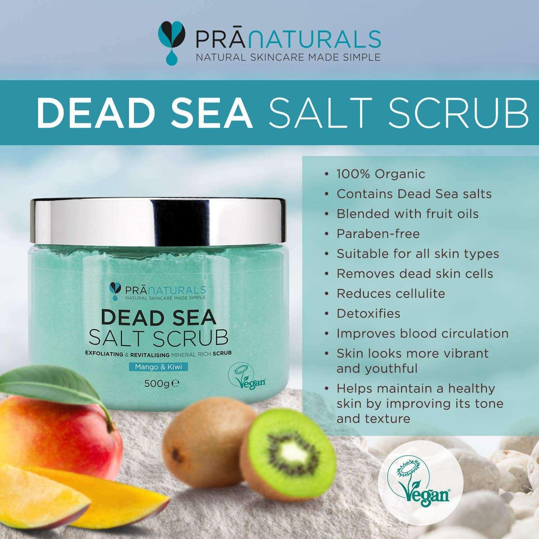 PraNaturals Exfoliante Corporal de Sal del Mar Muerto Mezclado propiedades