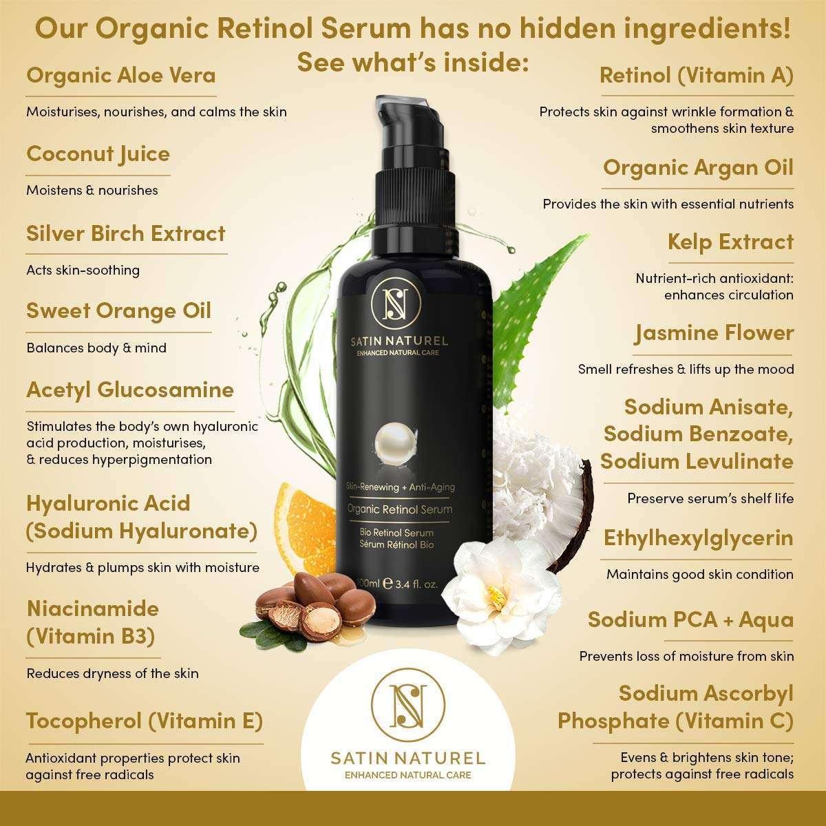 Serum Facial de Retinol Bio Vegano Satin Naturel propiedades