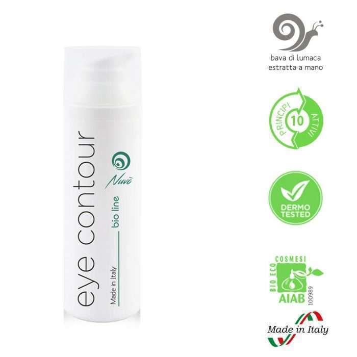 Crema con baba de caracol Nuvo' para ojeras y bolsas efecto anti-fatiga y contorno de ojos. beneficios