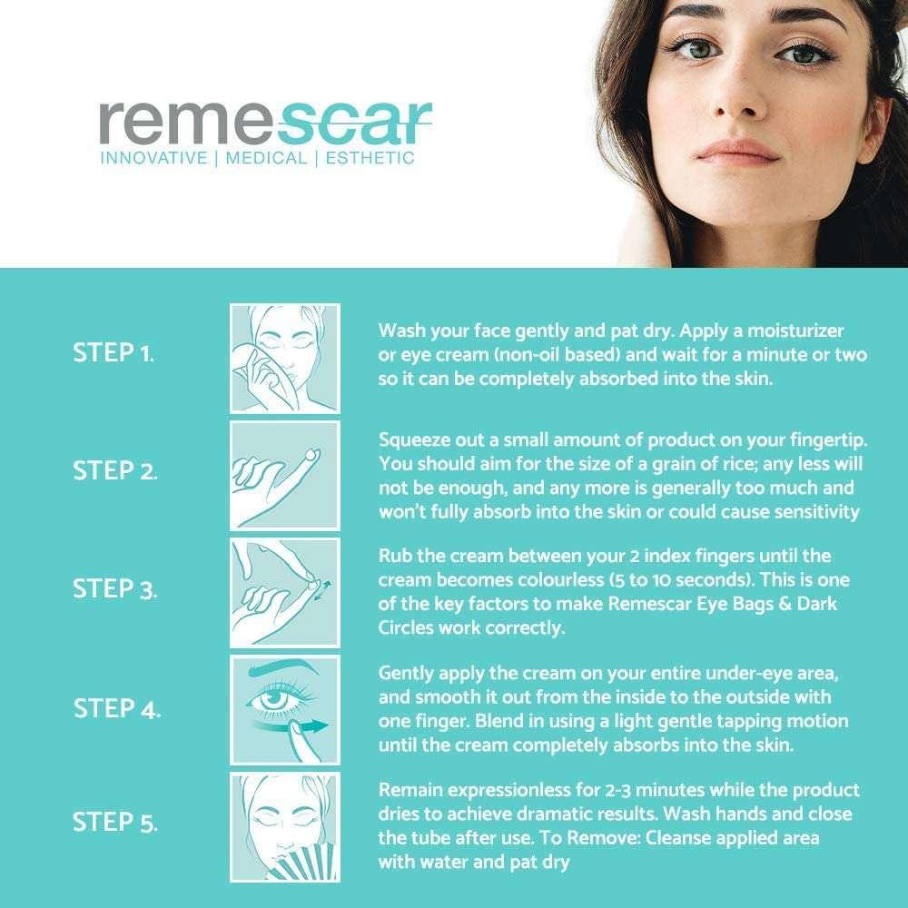 Remescar- Tratamiento instantáneo. Crema para las bolsas de los ojos, formula mejorada como aplicar