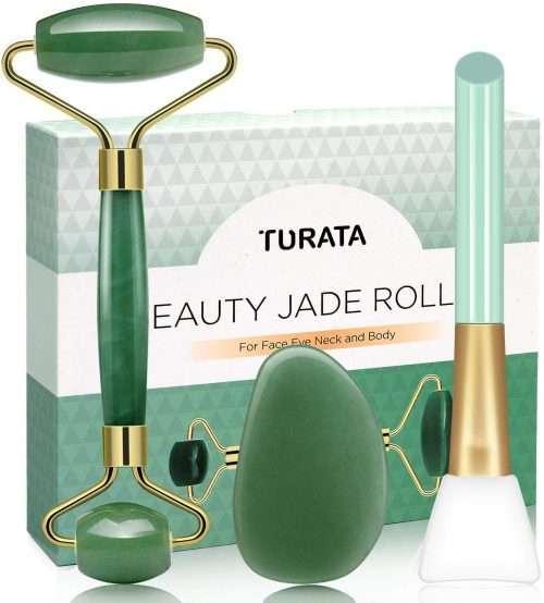 Rodillo de Jade, Piedra de masaje facial Turata Antienvejecedor. Presentación