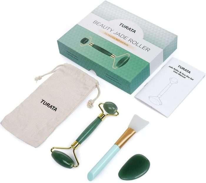 Rodillo de Jade, Piedra de masaje facial Turata Antienvejecedor. empaque